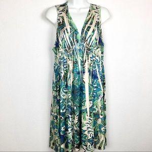 Unity World Sleeveless Maternity Dress, V-Neck, Floral, Midi Length